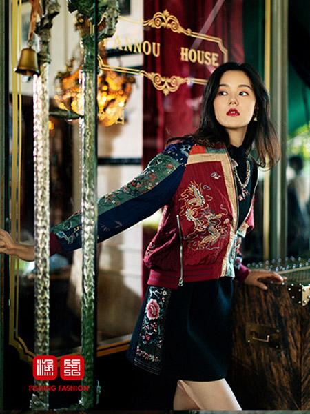 渔女装品牌2020秋季短外套红色刺绣