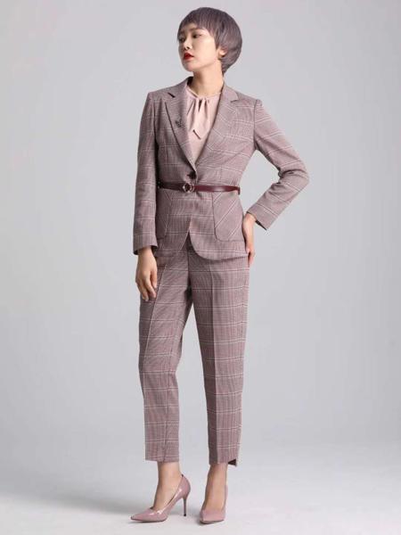 宝薇女装品牌2020秋季格纹粉色西装套装