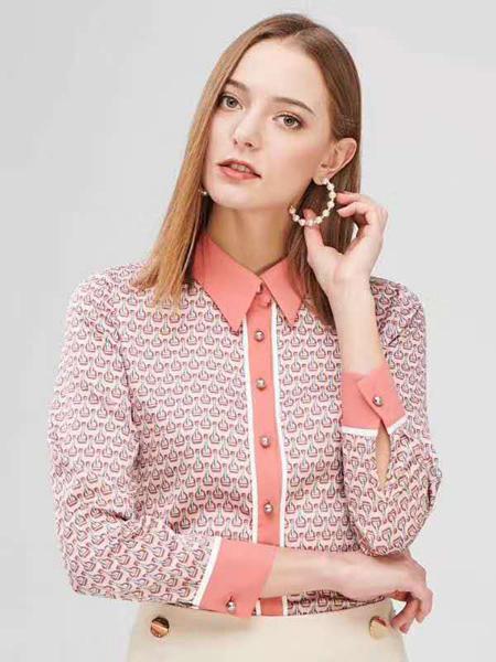 宝薇女装品牌2020秋季翻领粉色T恤长袖