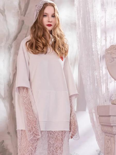 欧点OU.女装品牌2020秋季白色连衣裙短款网�纱袖裙边