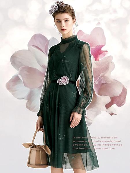 欧柏兰奴女装品牌2020秋季青色网纱连衣裙