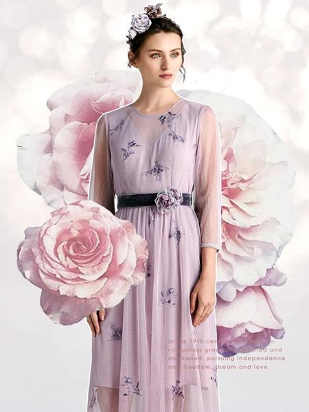 欧柏兰奴女装品牌2020秋季紫色圆领连衣裙