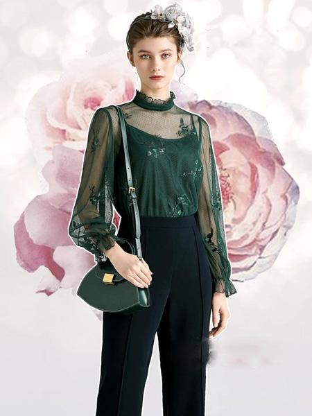 欧柏兰奴女装品牌2020秋季青色网纱上衣