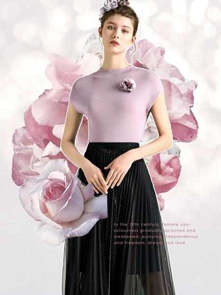 欧柏兰奴女装品牌2020秋季紫色T恤玫瑰装饰
