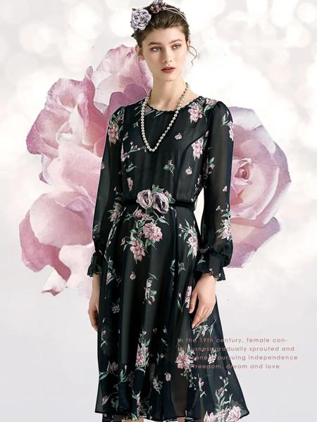 欧柏兰奴女装品牌2020秋季黑色花朵印花连衣裙