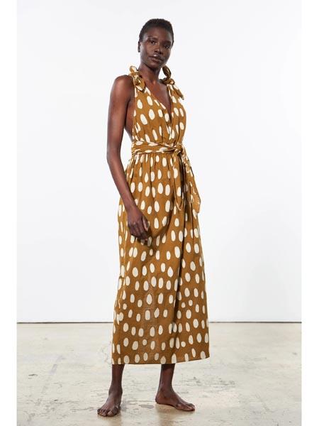 marahoffman国际品牌波点无袖连衣裙