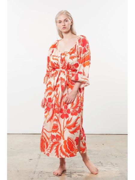 marahoffman国际品牌复古知性长袖连衣裙