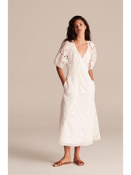 rebeccataylor国际品牌复古v领修身连衣裙