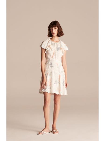 rebeccataylor国际品牌丝绸收腰短款连衣裙