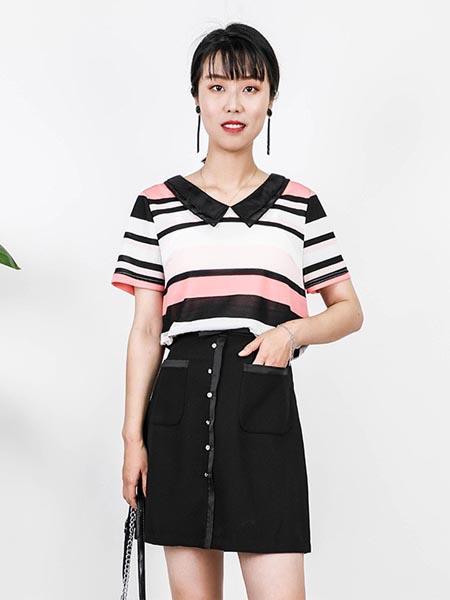 莱茨女装品牌2020春夏条纹纯棉polo衫