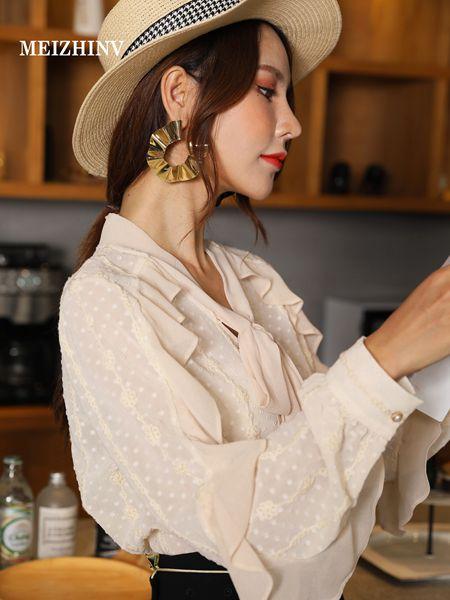 魅之女女装品牌2020秋季米色V领雪纺衫衬衫