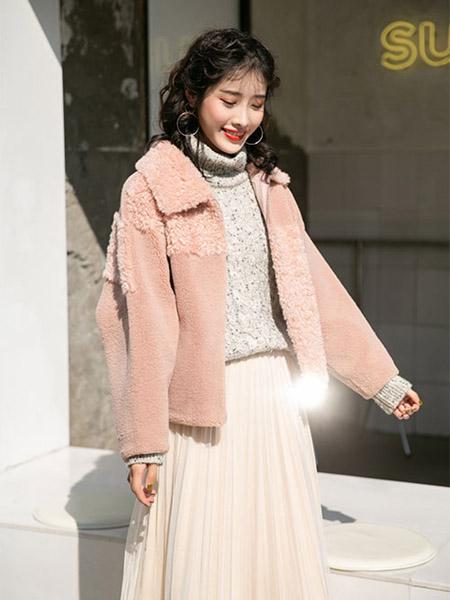 SC女装品牌2020秋季粉色外套