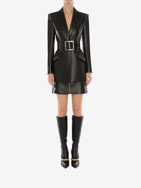 alexandermcqueen国际品牌U 形钉饰皮革夹克
