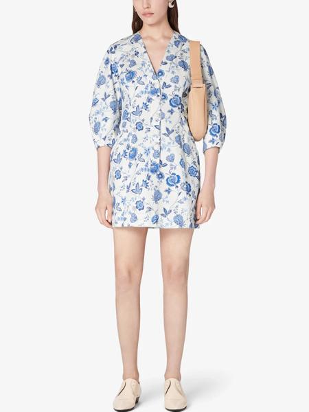 dereklam国际品牌2020春夏雪纺v领短裙