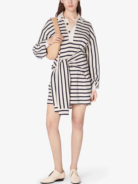 dereklam国际品牌2020春夏条纹设计感连衣裙