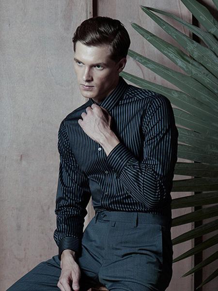 芙莱克斯男装品牌2020春夏竖纹黑色衬衫