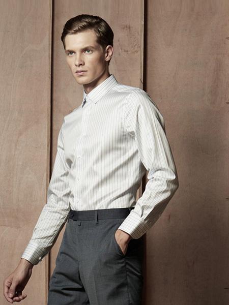 芙莱克斯男装品牌2020春夏竖纹白色衬衫