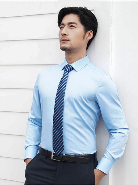芙莱克斯男装品牌2020春夏蓝色翻领衬衫