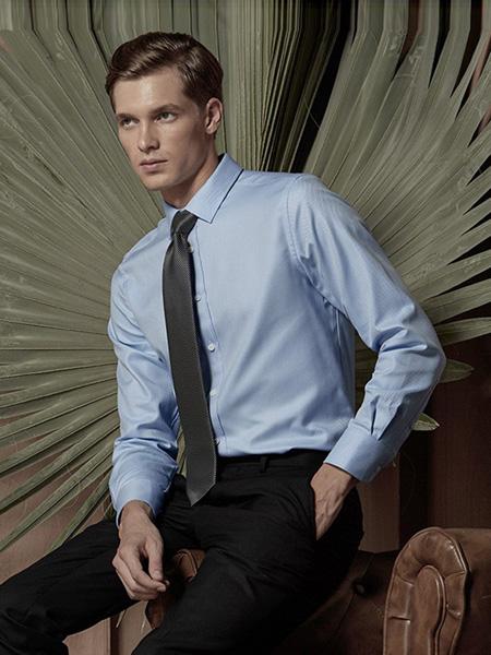 芙莱克斯男装品牌2020春夏浅蓝色长袖衬衫