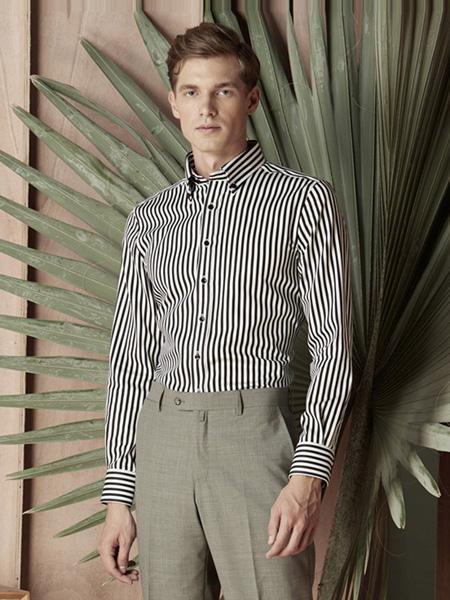 芙莱克斯男装品牌2020春夏竖纹黑白色翻领衬衫