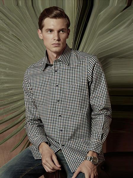 芙莱克斯男装品牌2020春夏格纹翻领衬衫黑白色