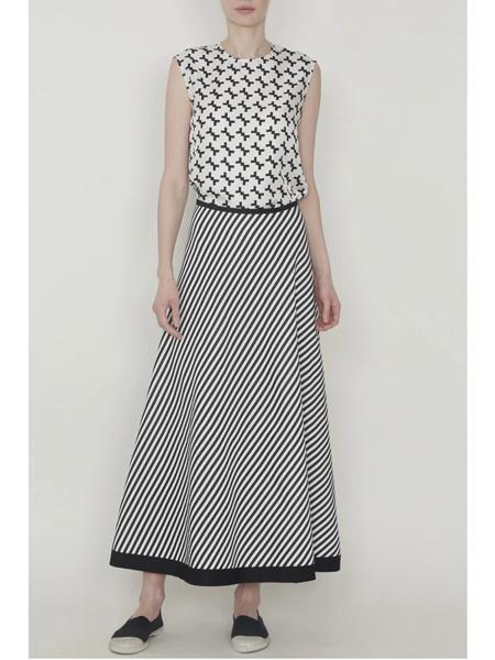 yeohlee国际品牌黑白条纹伞裙半时候施展下催眠身裙