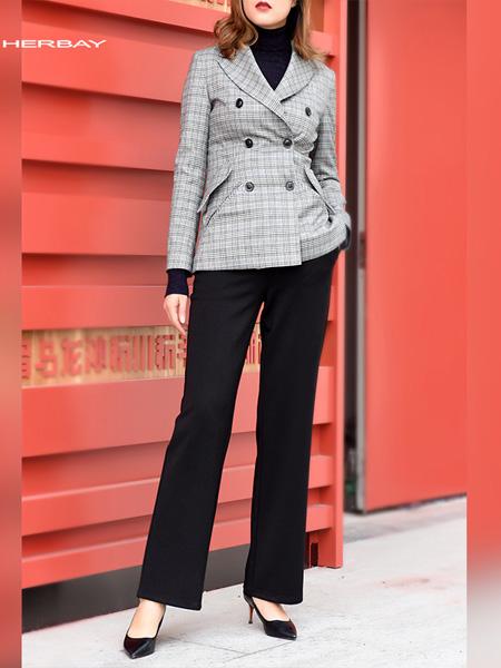 黑贝HERBAY女装品牌2020秋季黑贝高腰灯芯绒女裤宽松微喇裤休闲裤加厚条绒长裤子