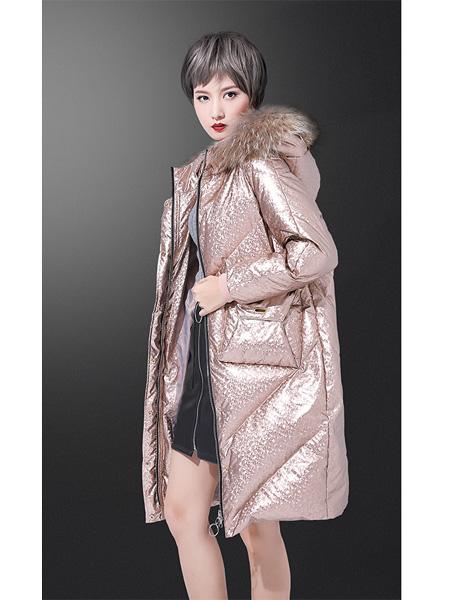 露娜梦女装品牌2020秋冬亮面长款羽绒服外套