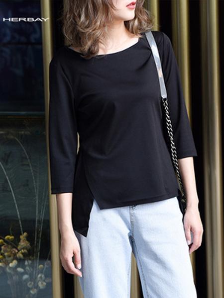 黑贝HERBAY女装品牌2020春夏黑贝宽松T恤简约棉夏季圆领纯色短袖