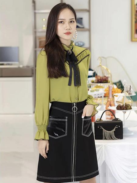 古歌女装品牌2020秋季黑色蝴蝶结绿色长袖衬衫黑色半裙