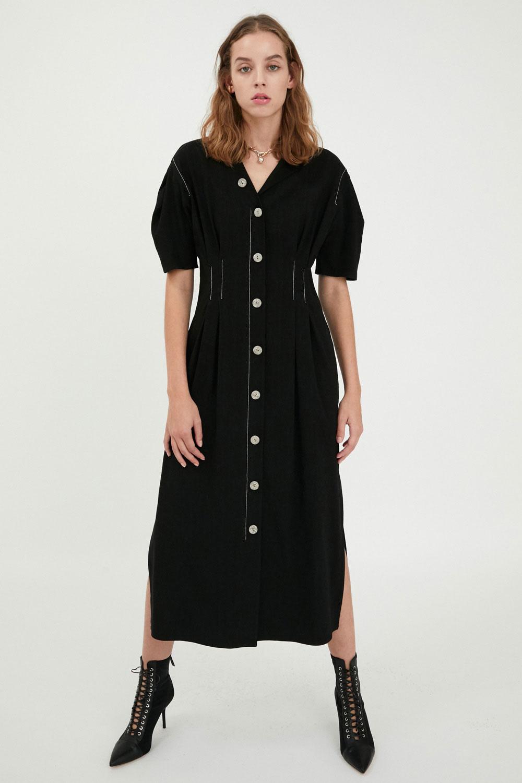 MAISON MARAIS女装品牌2020秋季欧美长如果说她刚才还是个绝色美人款连衣裙