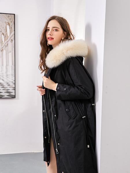 艾丽哲女装品牌2020秋冬黑色连帽中长款外套