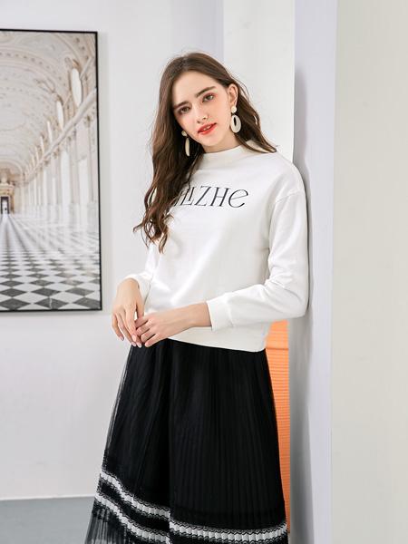 艾丽哲女装品牌2020秋冬字母白色卫衣