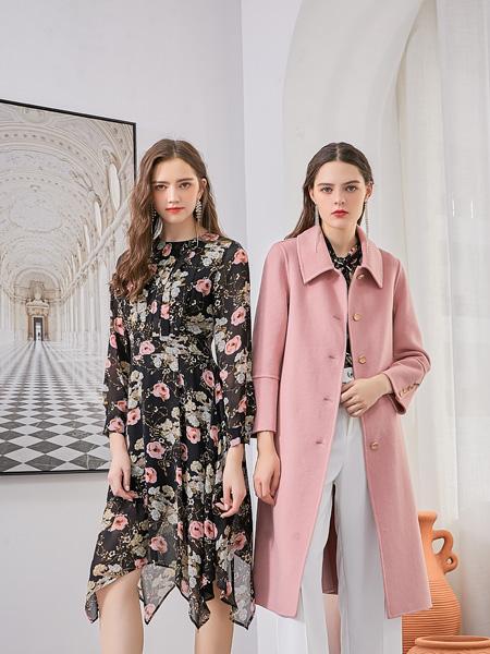 艾丽哲女装品牌2020秋冬粉色风衣外套