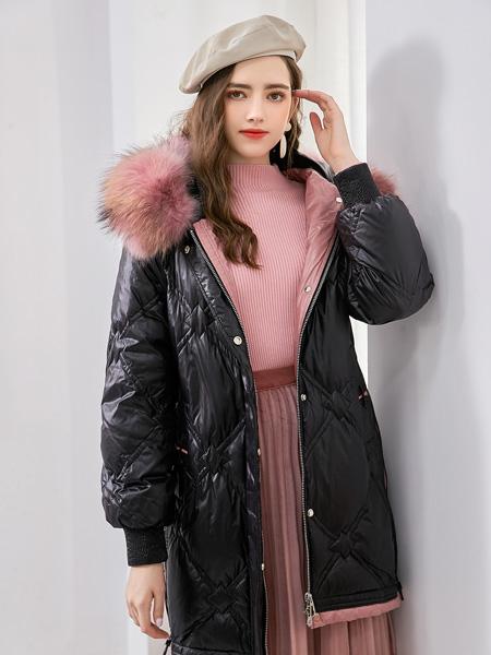 艾丽哲女装品牌2020秋冬黑色保暖外套