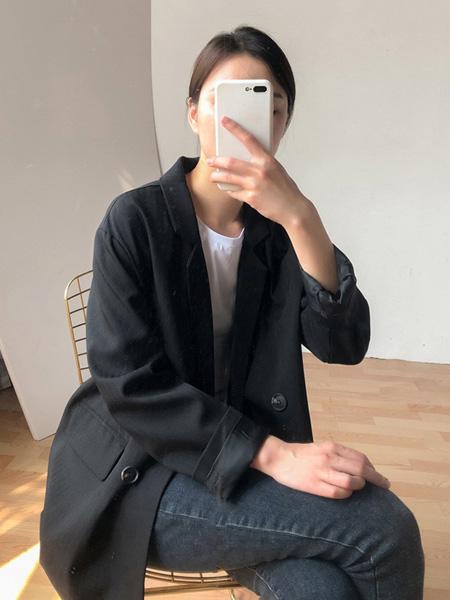 语格女装品牌2020春夏长袖黑色西装外套