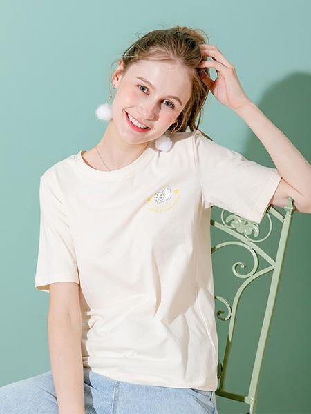 语格女装品牌2020春夏米色T恤