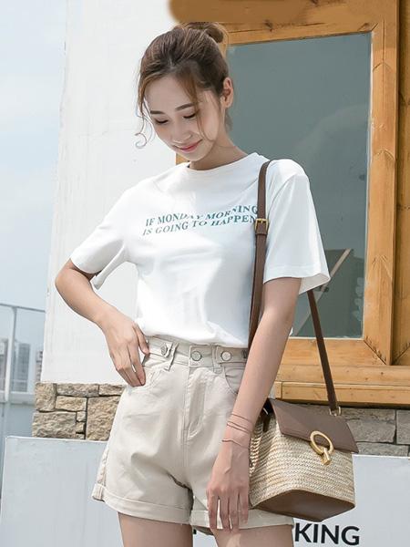 语格女装品牌2020春夏字母白色T恤