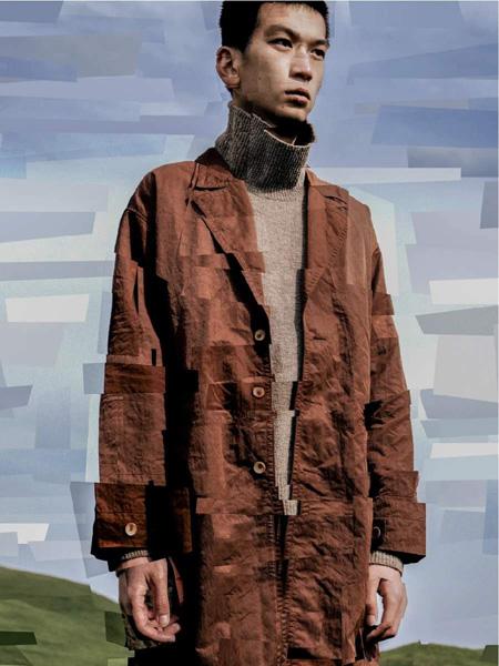 单农男装品牌2020秋季咖色长袖衬衫
