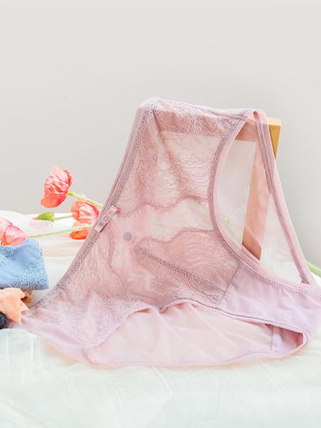 SOFU舒工坊内衣品牌2020春夏网纱浅粉色内裤