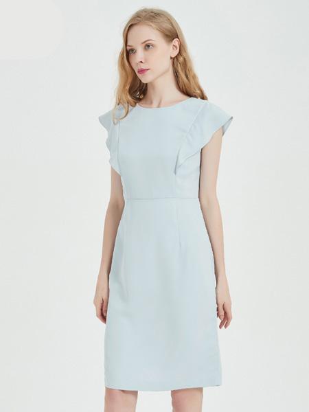 绕音女装品牌2020春夏RAOYIN绕音2020夏季新款女装 粉蓝色修身女装连衣裙气质淑女