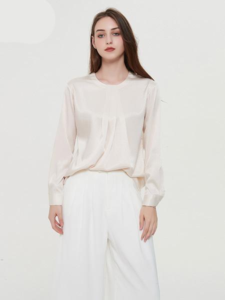 绕音女装品牌2020春夏RAOYIN绕音2020夏季新款女装 领口抽褶设计衬衫 气质百搭上衣女