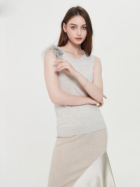 绕音女装品牌2020春夏RAOYIN绕音2020新款女装羽毛拼接手工钉钻100%山羊绒无袖针织上衣