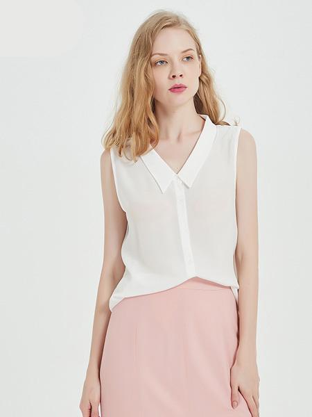 绕音女装品牌2020春夏RAOYIN绕音2020夏季新款女装 100%桑蚕丝真丝无袖衬衫显瘦百搭