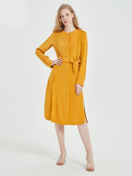 绕音女装品牌2020春夏RAOYIN绕音2020夏季新款女装 100%桑蚕丝长袖连衣裙两色可选