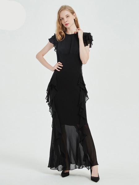 绕音女装品牌2020春夏RAOYIN绕音2020夏季新款女装100%桑蚕丝黑色长款修身连衣裙礼服裙