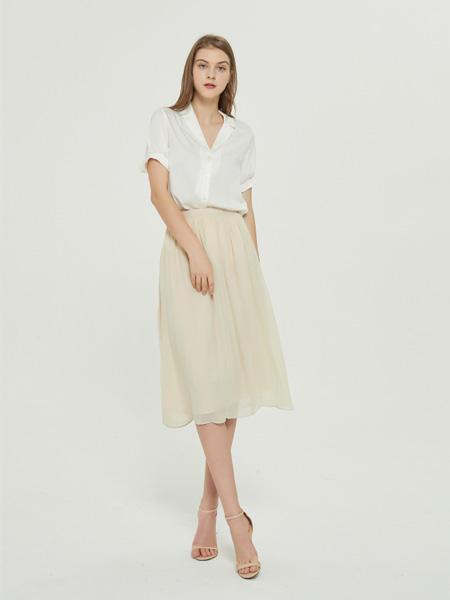 绕音女装品牌2020春夏RAOYIN绕音女装夏季新款 100%桑蚕丝百搭百褶裙米灰色半身裙