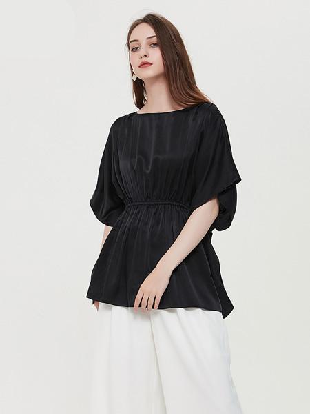 绕音女装品牌2020春夏RAOYIN绕音2020夏季新款女装100%桑蚕丝真丝宽松衬衫百搭多色可选