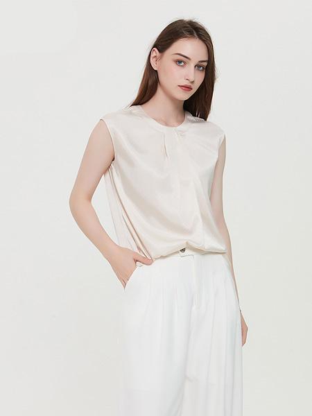 绕音女装品牌2020春夏RAOYIN绕音2020夏季新款女装 领口抽褶无袖衬衫 气质百搭上衣女