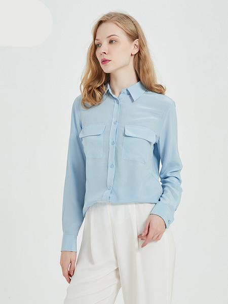 绕音女装品牌2020春夏RAOYIN绕音2020年春夏新款女装 100%桑蚕丝长袖口袋衬衫 多色可选